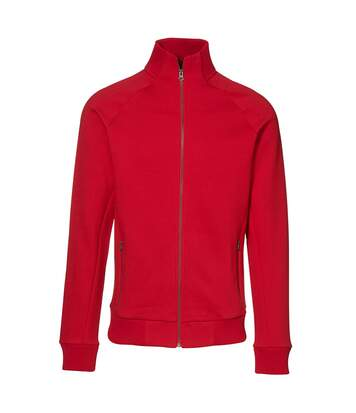 ID Mens Fitted Full Zip Fleece Jacket (Red) - UTID389