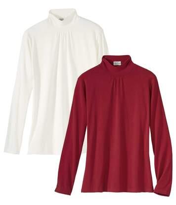 Sada 2 překrásných tenkých svetrů svyššími límci