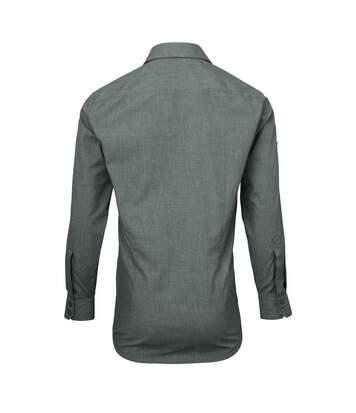 Premier Mens Poplin Cross-Dye Roll Sleeve Shirt (Grey Denim) - UTRW5527