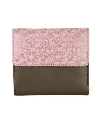 Eastern Counties Leather - Portefeuille Avec Broderies Anais - Femme (Taupe / rose) - UTEL300