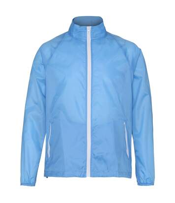 2786 Mens Contrast Lightweight Windcheater Shower Proof Jacket (Sky/ White) - UTRW2501
