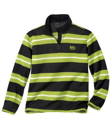 Men's Striped Half Zip Fleece Jumper - Anthracite Green