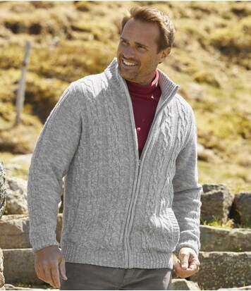 Men's Light Grey Fleece-Lined Knitted Jacket - Full Zip