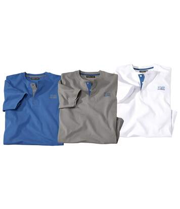 Pack of 3 Men's Adventure T-Shirts - White Blue Grey