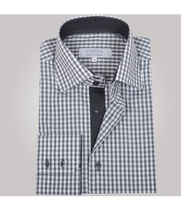 Chemise homme à carreaux gris intérieur anthracite - Chemise CINTRÉE