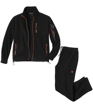 Men's Black Sporty Fleece Tracksuit