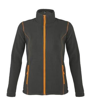 Veste micropolaire zippée femme - 00587 - gris anthracite et orange