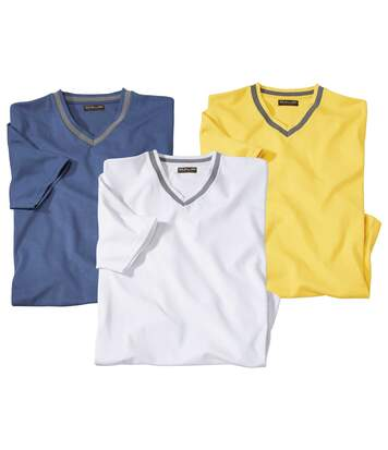 Pack of 3 Men's V-Neck T-Shirts - Blue Yellow White