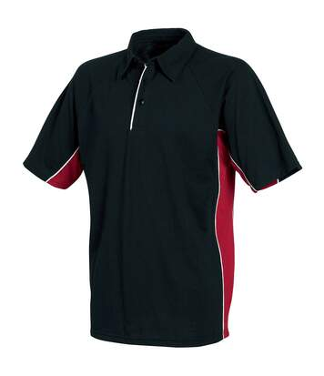 Tombo Teamsport Mens Pique Sports Polo Shirt (Black/Red/White Piping) - UTRW1538