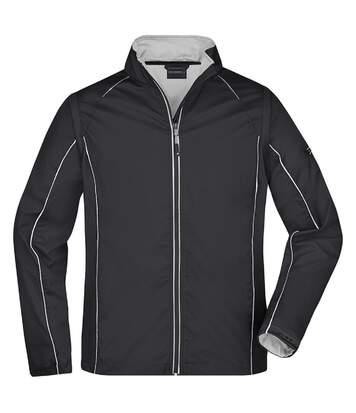 Veste softshell manches amovibles - homme - JN1122 - noir et argent