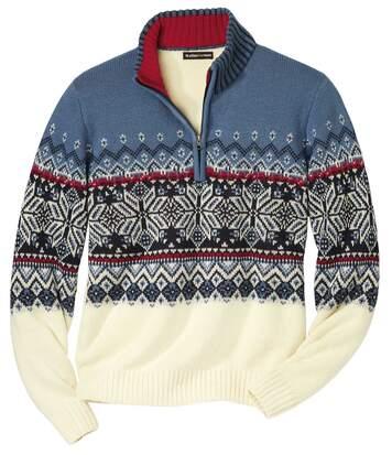 Žakárový pulovr Andina se zipovým zapínáním ukrku
