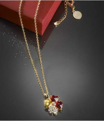Náhrdelník s talismanem pro štěstí posetý kamínky Swarovski®