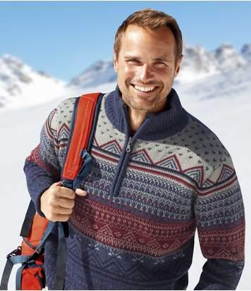 Trykotowy, żakardowy sweter z wykładanym kołnierzem