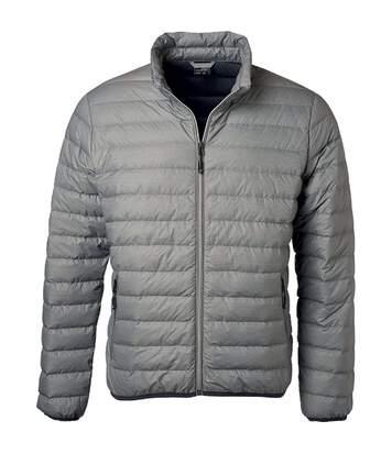 Veste doudoune matelassée duvet - JN1140 - gris argent - Homme