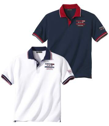 Pack of 2 Men's Piqué Polo Shirts - Navy White