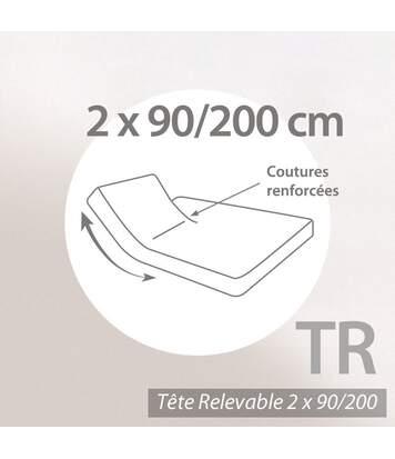Protège matelas imperméable Antony blanc 2x90x200 Spécial lit articulé TR