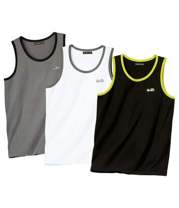Pack of 3 Men's Beach Vests - Black White Grey