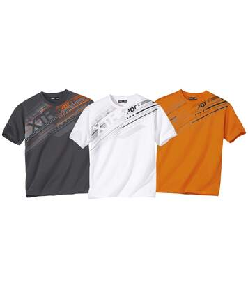 Pack of 3 Men's Graphic Sports T-Shirts - White Orange Anthracite