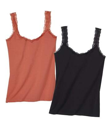 Pack of 2 Women's Stretch Lace Vest Tops - Black Coral