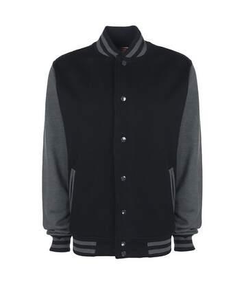 FDM Unisex Varsity / University Jacket (Contrast Sleeves) (Burgundy/Heather Grey) - UTBC2029