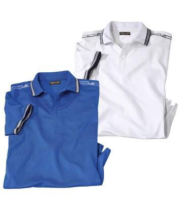 Pack of 2 Men's Beach Polo Shirts - White Blue