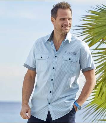 Gestreept popeline overhemd Tropic Ocean