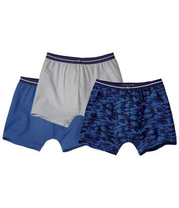 Pack of 3 Men's Boxer Shorts - Camouflage Blue Grey