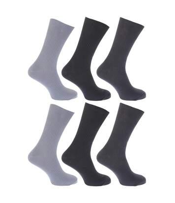 Floso - Chaussettes Striées Non Élastiquées 100% Coton (Lot De 6 Paires) - Homme (Nuances de gris) - UTMB186