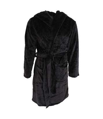 Pierre Roche Mens Soft Touch Hooded Dressing Gown (Black) - UTN1160