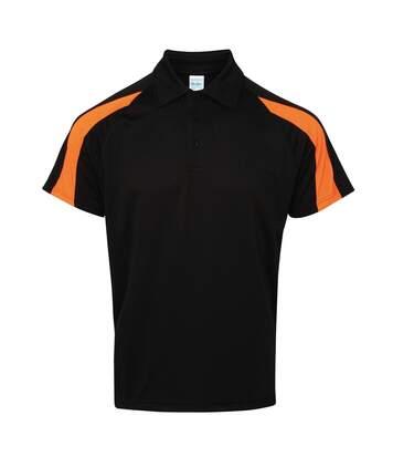 AWDis Just Cool Mens Short Sleeve Contrast Panel Polo Shirt (Jet Black/Electric Orange) - UTRW3479