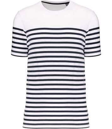T-shirt rayé coton bio marinière homme - k3033 - blanc et bleu marine