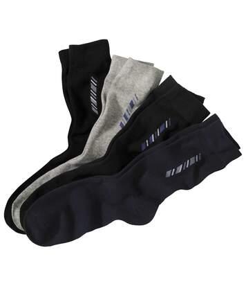 Pack of 4 Paris of Men's Patterned Socks - Black Navy Grey