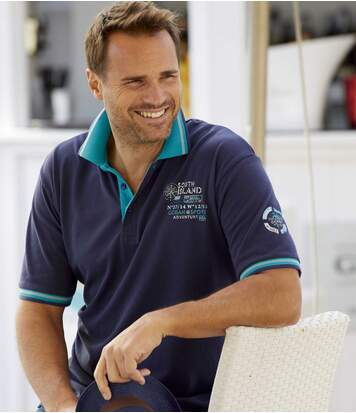 Pack of 2 Men's Piqué Polo Shirts - Navy Turquoise