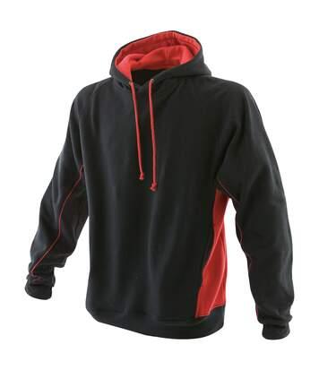 Finden & Hales Mens Pull Over Hooded Sweatshirt / Hoodie (Black/Red) - UTRW422