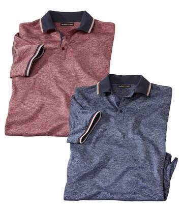 Pack of 2 Men's Slub Polo Shirts - Blue Red