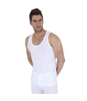 Mens Thermal Underwear Sleeveless Vest Polyviscose Range (Pack Of 2) (British Made) (White) - UTTHERM13