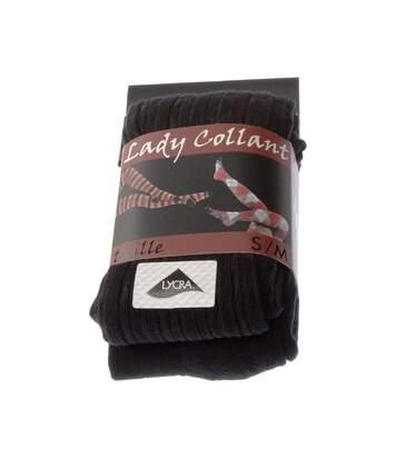 Collant chaud - 1 paire - Unis effet de maille - Ultra opaque - Mat - Gousset polyamide - Coton - A côtes - Noir