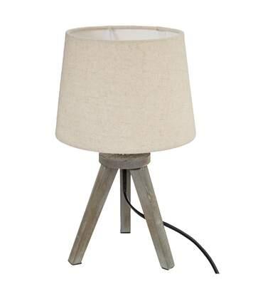 Atmosphera - Lampe bois trépied abat-jour LIN H31