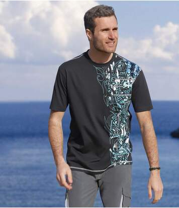 Pack of 2 Men's Surfing T-Shirts - Black Turquoise