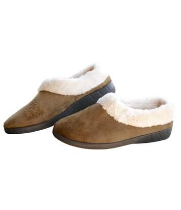Women's Brown Fur Slippers