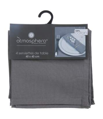 Atmosphera - Lot de 4 serviettes de table grises claires en coton
