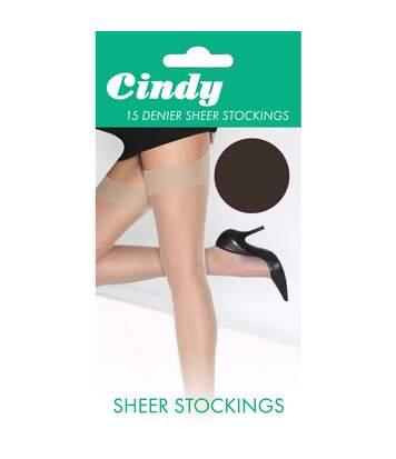 Cindy - Bas Pour Porte-Jarretelles 15 Deniers (1 Paire) - Femme (Marron foncé) - UTLW110
