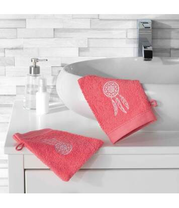 Paris Prix - Lot De 2 Gants De Toilette talisman 16x21cm Corail