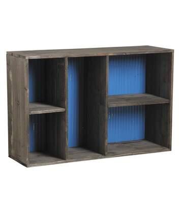 Etagère 5 niches en bois et zinc
