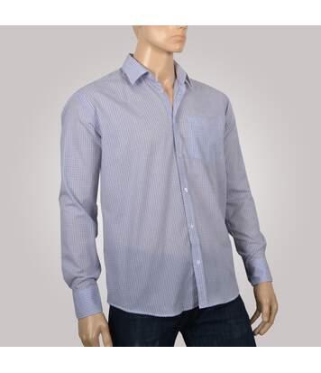 Chemise homme à carreaux bleu et noirs avec poche poitrine - Chemise NON CINTRÉE