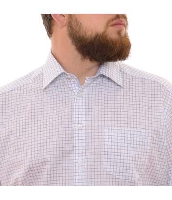 Chemise blanche à carreaux bleu