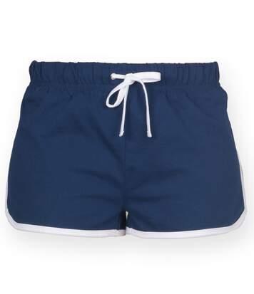 Skinni Fit - Short De Sport Rétro - Femme (Bleu marine/Blanc) - UTRW2838