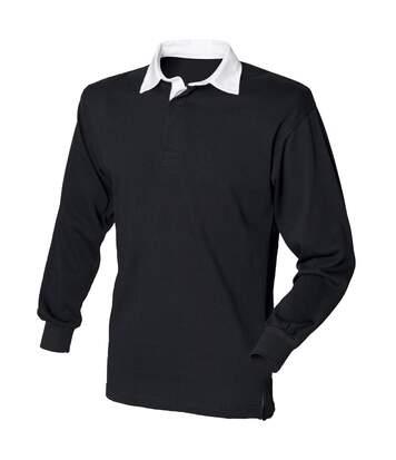 Front Row - Polo De Rugby À Manches Longues 100% Coton - Homme (Vert vif/Blanc) - UTRW478