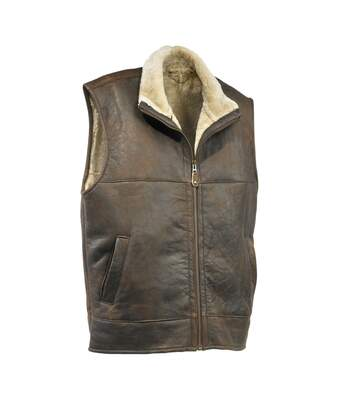 Eastern Counties Leather Mens Harvey Sheepskin Gilet (Chocolate Forest Distressed) - UTEL188