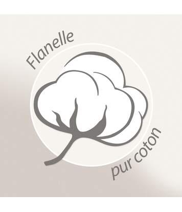 Parure de lit 140x200 cm flanelle de coton COLETTE beige 2 pièces